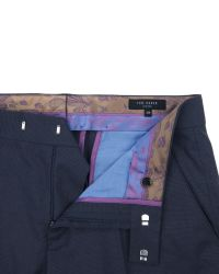 Ted Baker | Blue Statro Linen Blend Trousers for Men | Lyst