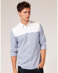 ASOS Collection | Blue Asos Horizontal Breton Stripe Shirt for Men | Lyst
