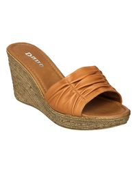 Dune   Brown Glace D Rouched Vamp Pu Wedge Sandals   Lyst