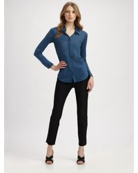 Eileen Fisher | Blue Silk Blend Button Down Shirt | Lyst