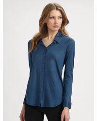 Eileen Fisher - Blue Silk Blend Button Down Shirt - Lyst
