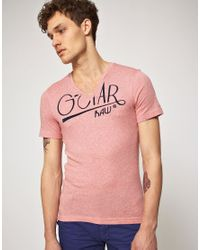 G-Star RAW - Pink Gstar Bleecker Vneck Tshirt for Men - Lyst