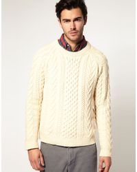 Gant Rugger | Natural Classic Cable-Knit Sweater for Men | Lyst