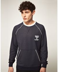 Hummel | Blue Hummel Kangaroo Pocket Crew Sweatshirt for Men | Lyst