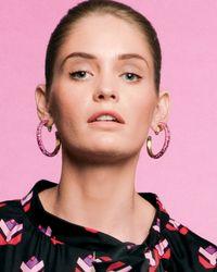 Jose & Maria Barrera - Purple Crystal Hoop Clip Earrings - Lyst