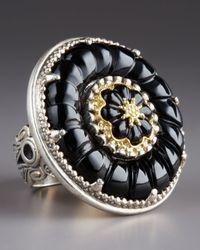 Konstantino - Black Iris Onyx Carved Flower Ring - Lyst