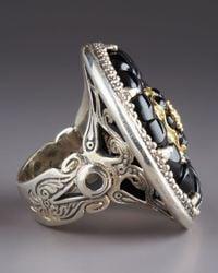 Konstantino | Black Iris Onyx Carved Flower Ring | Lyst