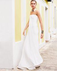 Ralph Lauren Black Label - White Strapless Draped Gown - Lyst
