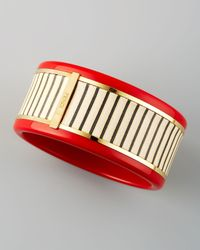 Fendi | Resin Leatherstriped Bracelet Red | Lyst