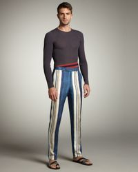Lanvin | Blue Striped Silk Pants for Men | Lyst