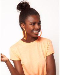 ASOS - Pink Neon Plastic Hoop Earrings - Lyst