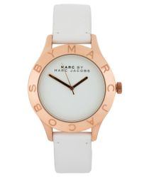 Marc By Marc Jacobs | White Leather Strap with Gold Face | Lyst