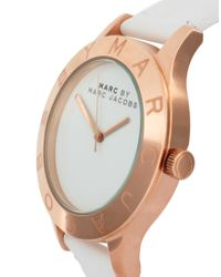 Marc By Marc Jacobs - White Leather Strap with Gold Face - Lyst