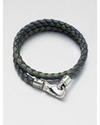Tod's - Green Braided Leather Bracelet for Men - Lyst