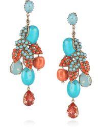 Bijoux Heart | Blue 24karat Goldplated Swarovski Crystal Earrings | Lyst