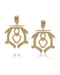 Etro | Metallic Hammered Brass Clip Earrings | Lyst