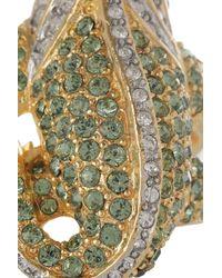 Kenneth Jay Lane - Green 22karat Goldplated Crystal Iguana Ring - Lyst