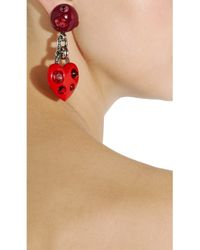 Lanvin - Red Swarovski Crystal Heart Clip Earrings - Lyst