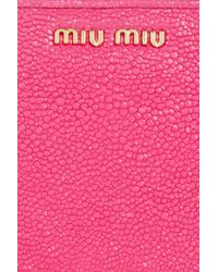 Miu Miu | Pink Stringrayeffect Leather Wallet | Lyst