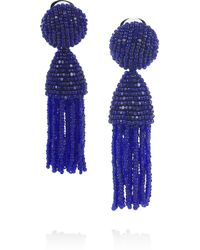 Oscar de la Renta | Blue Beaded Tassel Clip Earrings | Lyst
