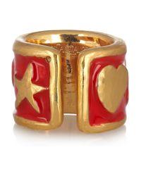 Saint Laurent - Metallic Ycons Enameled Goldplated Ring - Lyst