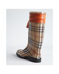 Burberry - Brown Tangerine Leather Accent Pvc Covered Signature Plaid Rain Boots - Lyst