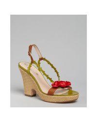 Céline | Green Leather Rosette Wedges | Lyst