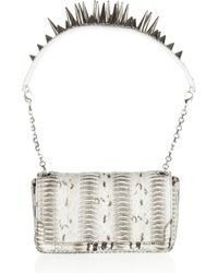 Christian Louboutin | Gray Artemis Spiked Watersnake Shoulder Bag | Lyst