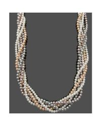 Hue - White Sterling Silver Multicolor Cultured Freshwater Pearl 5 Row Twist Strand Necklace - Lyst