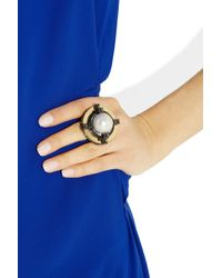 Lanvin - White Crystalembellished Glass Pearl Ring - Lyst