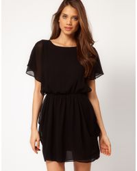 ASOS Collection - Black Asos Tulip Dress with Flute Sleeves - Lyst