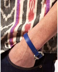 ASOS - Asos Blue Leather D Ring Bracelet for Men - Lyst