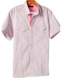 Banana Republic | Red Shortsleeve Microprint Utility Shirt for Men | Lyst