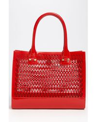 Tory Burch | Red Mini Georgiana Perforated Tote | Lyst