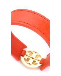 Tory Burch - Orange Logo Skinny Double Snap Cuff - Lyst