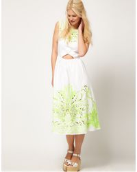 ASOS Collection | Green Asos Midi Dress with Neon Embellishment | Lyst
