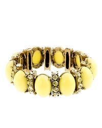 J.Crew | Yellow Cabochon and Crystal Stretch Bracelet | Lyst