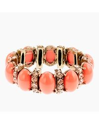 J.Crew | Pink Cabochon and Crystal Stretch Bracelet | Lyst