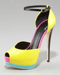Giuseppe Zanotti | Multicolor Neon Colorblock Platform Dorsay | Lyst