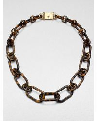 Michael Kors | Brown Tortoise Pattern Chain Link Necklace | Lyst