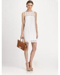 MILLY - White Eyelet Shift Dress - Lyst