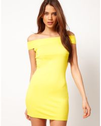 ASOS Collection | Yellow Asos Bodycon Dress with Off The Shoulder Sleeve | Lyst