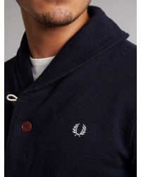 Fred Perry | Blue Shawl Collar Sweat Cardigan Navy Marl for Men | Lyst