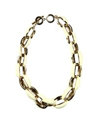 Anne Klein | Metallic Gold Tone Ivory Enamel Link Statement Necklace | Lyst