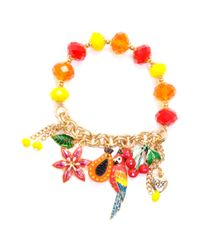 Betsey Johnson | Metallic Antique Gold Tone Parrot and Fruit Half Stretch Bracelet | Lyst
