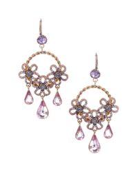 Betsey Johnson | Purple Flower Teardrop Hoop Earrings | Lyst