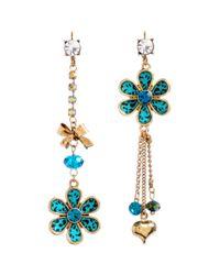 Betsey Johnson | Blue Turquoise Leopard Flower Mismatch Earrings | Lyst