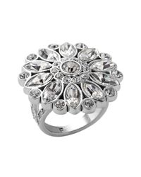 Fossil | Metallic Clear Crystal Daisy Cocktail Ring | Lyst