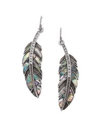 Fossil | Metallic Silver Tone Abalone Feather Earrings | Lyst