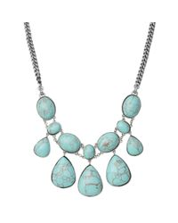 Fossil - Blue Reconstituted Turquoise Statement Necklace - Lyst